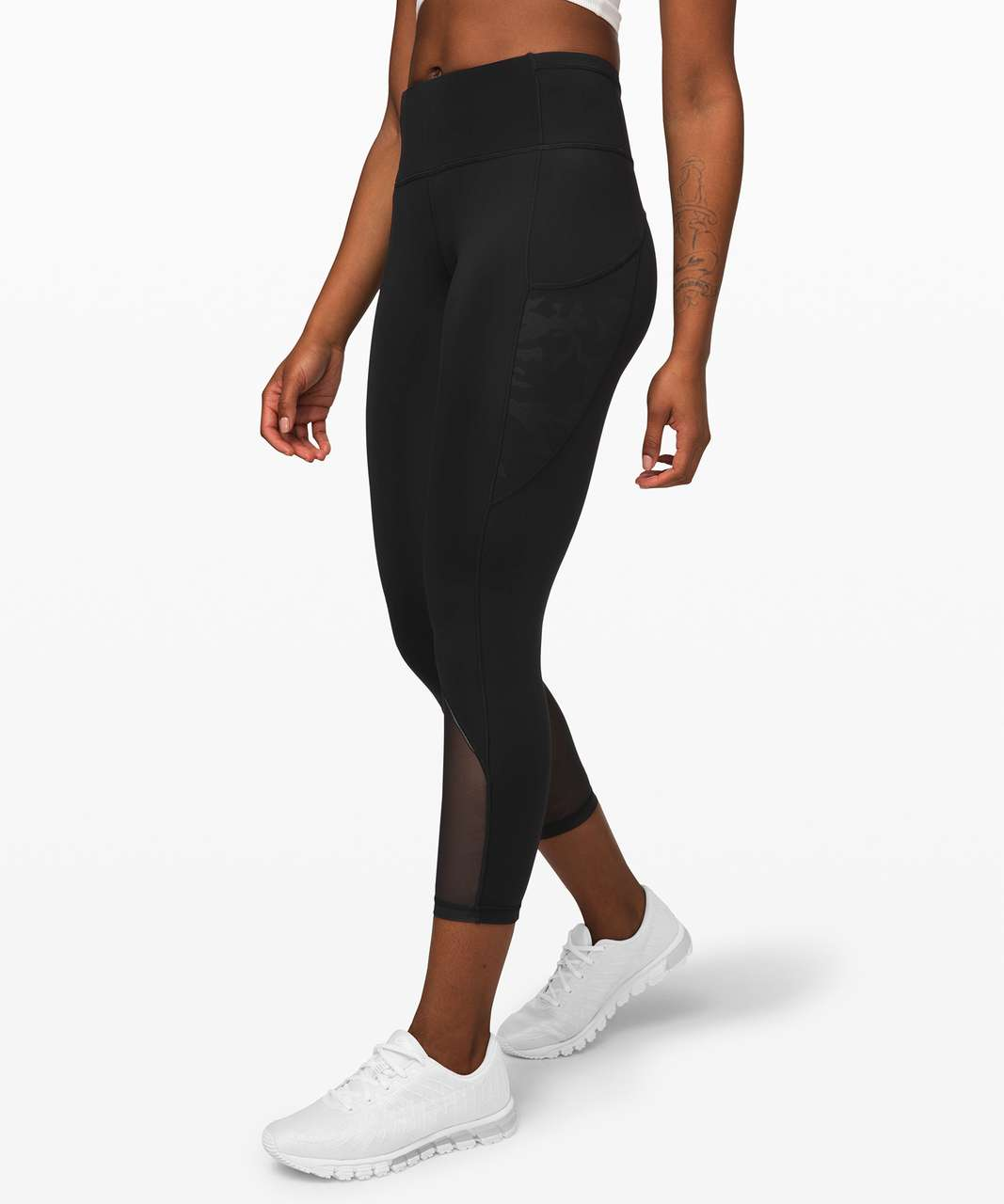 "Lululemon Fast and Free Crop 23"" *Mesh - Black / Incognito Camo Emboss Rotated Black"
