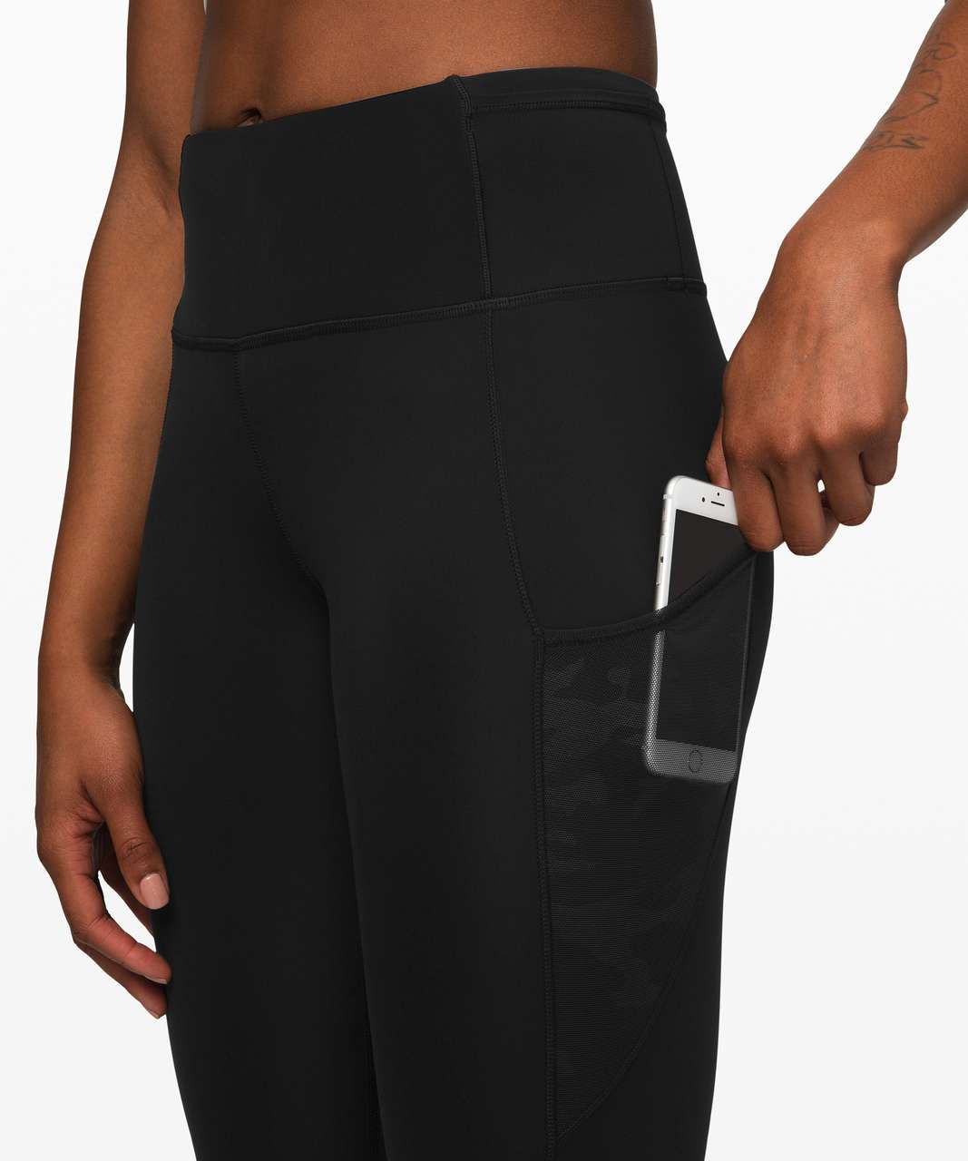 """Lululemon Fast and Free Crop 23"""" *Mesh - Black / Incognito Camo Emboss Rotated Black"""