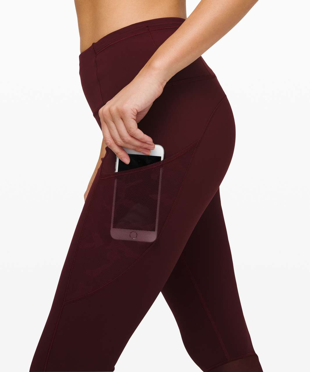 "Lululemon Fast and Free Crop 23"" *Mesh - Garnet / Incognito Camo Emboss Rotated Garnet"