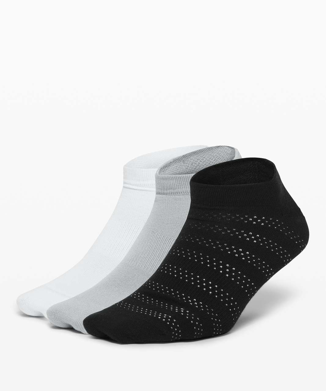 Lululemon On the Fly Sock *3-Pack - Black / Silver Drop / White