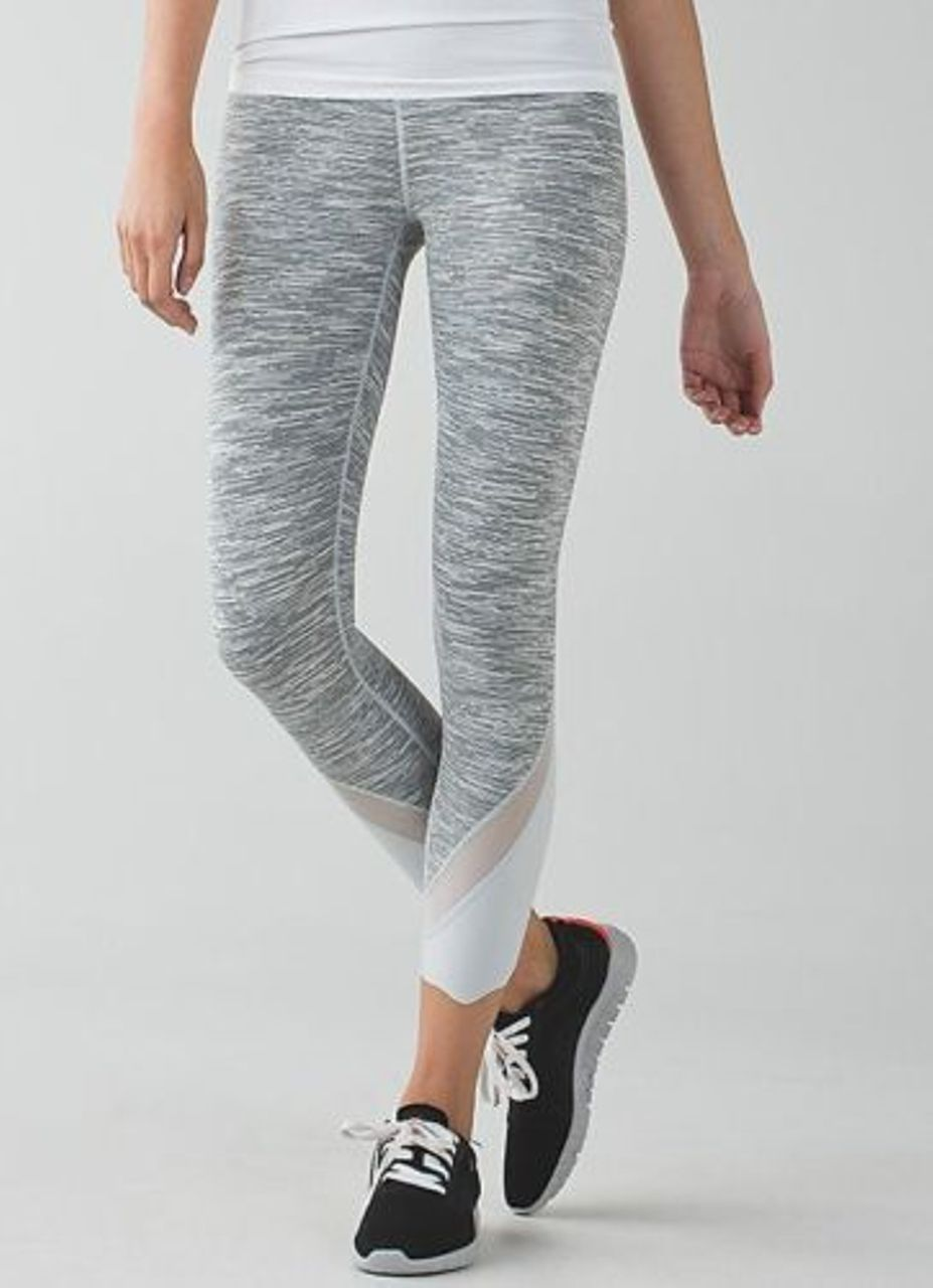 Lululemon Wunder Under Crop II (Roll Down Mesh) - Wee Are From Space Silver Spoon / Silver Spoon