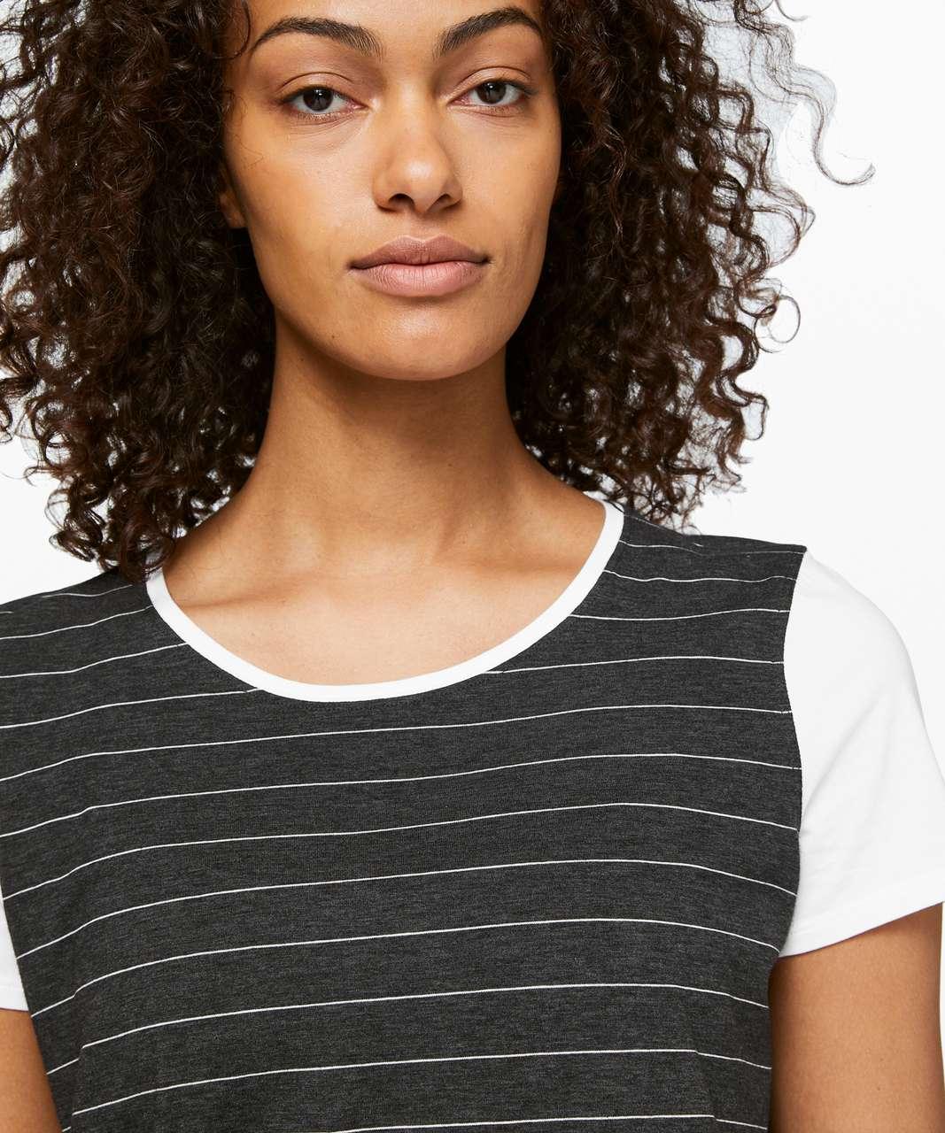 Lululemon Love Crew III - Short Serve Stripe Heathered Black White / White
