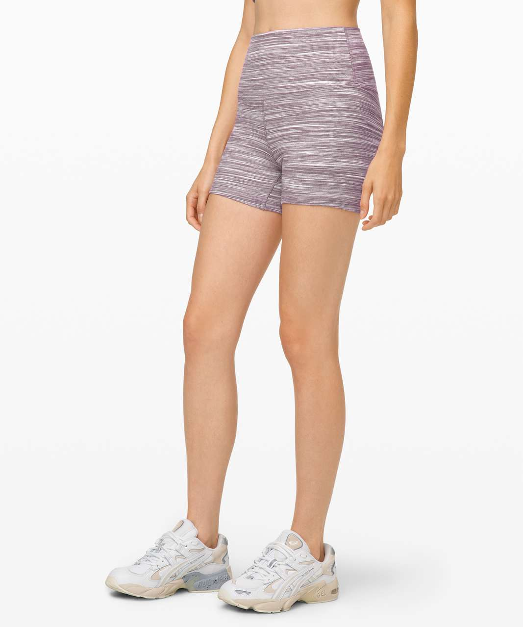 "Lululemon Align Short *4"" - Mini Space Dye Herringbone Jacquard Heathered Black Cherry White / Black Cherry"
