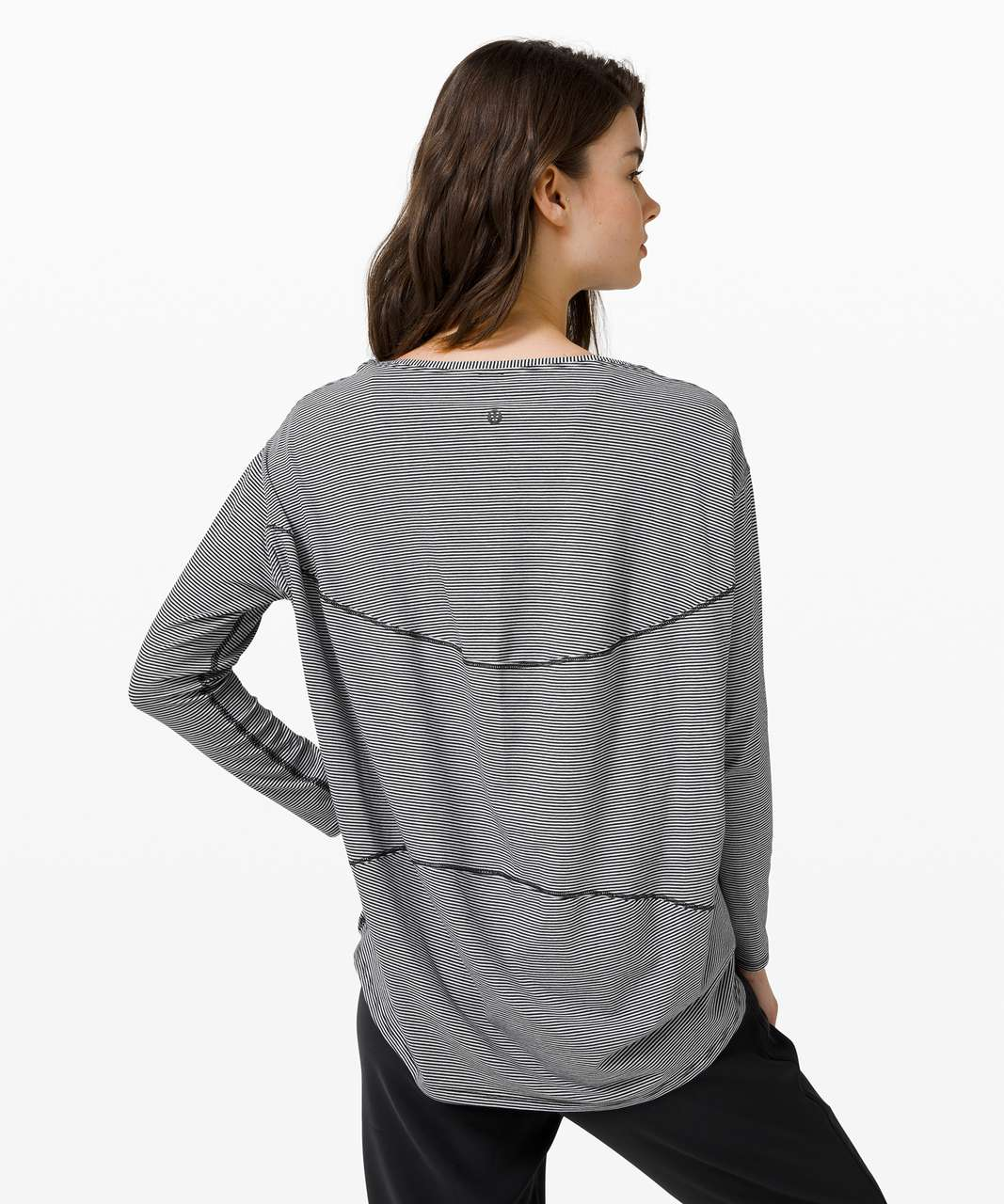 Lululemon Back In Action Long Sleeve - Tonka Stripe Black White