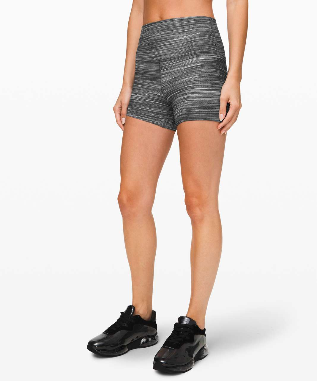 "Lululemon Align Short *4"" - Mini Space Dye Herringbone Heathered Black White / Black"