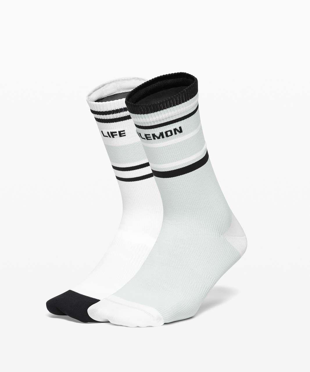 Lululemon Tale To Tell Crew Sock*2 Pack - White / Black / Vapor