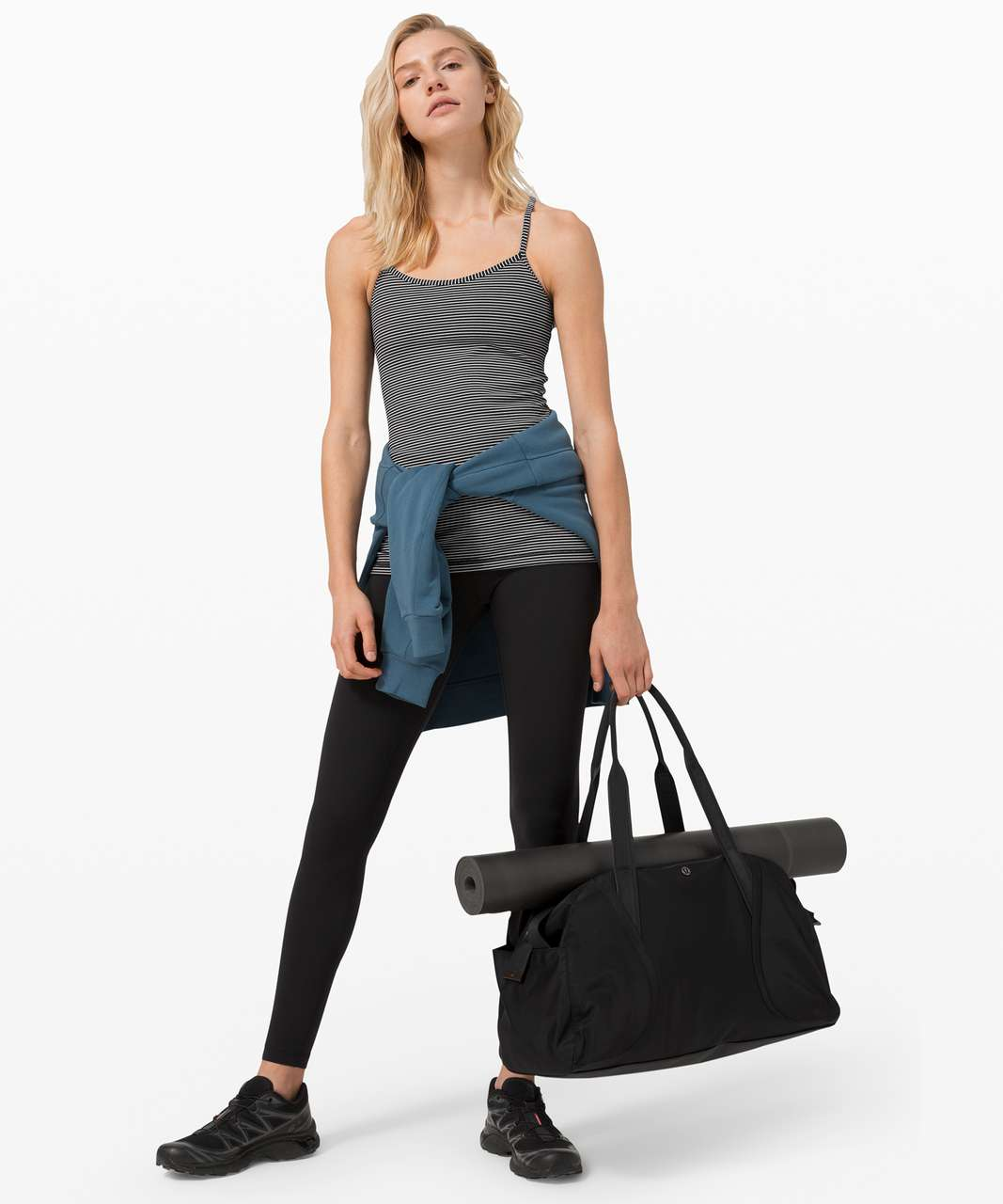 Lululemon Power Y Tank *Luon - Hype Stripe Black White