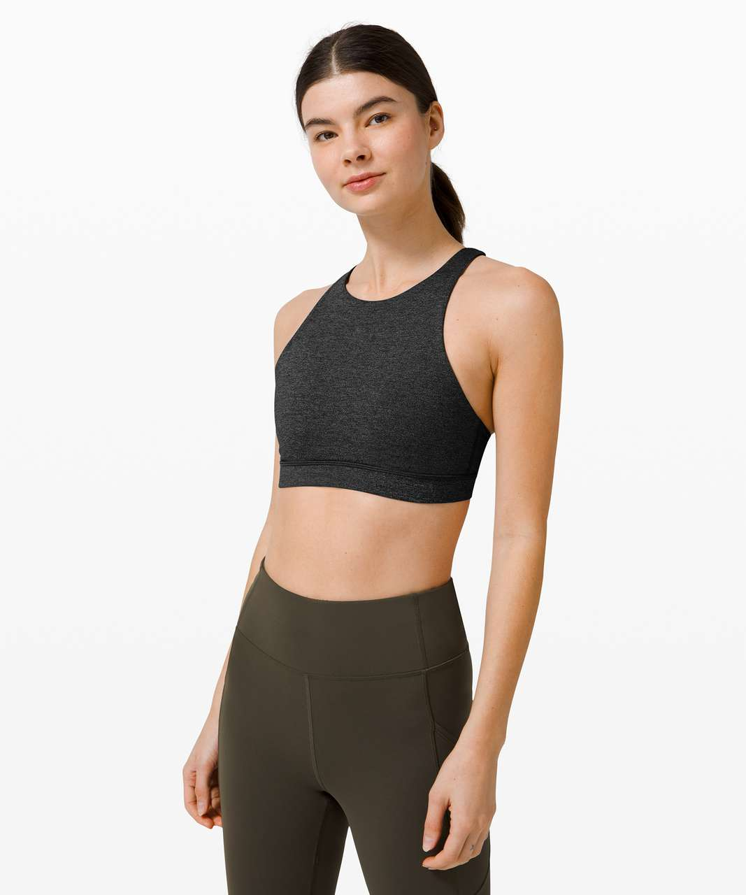 Lululemon Energy Bra High Neck *Medium Support, B/C Cup - Heathered Black