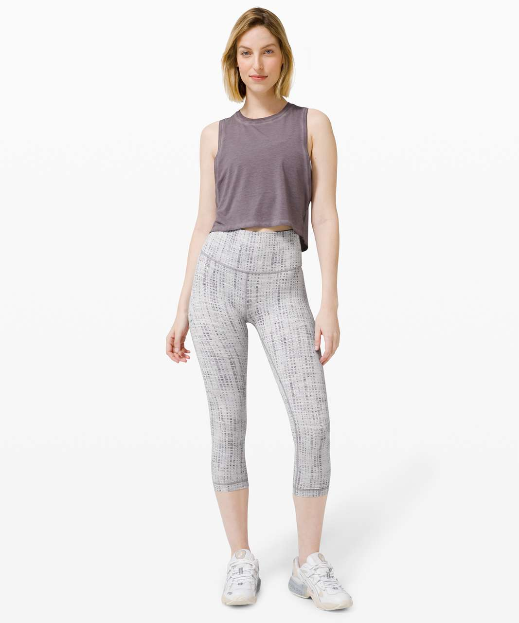"Lululemon Wunder Under Crop (High-Rise) *Luxtreme 21"" - Action Jacquard Moonphase Silver Lining"