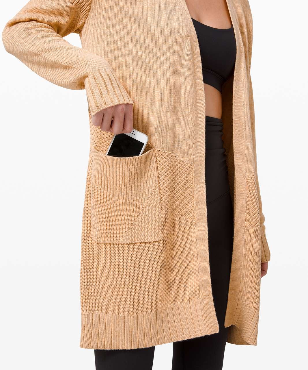 Lululemon Sincerely Yours Wrap Sweater - Heathered Ivory Peach