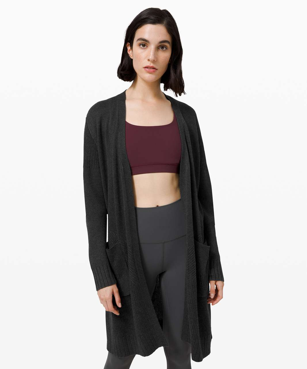 Lululemon Sincerely Yours Wrap Sweater - Heathered Deep Coal