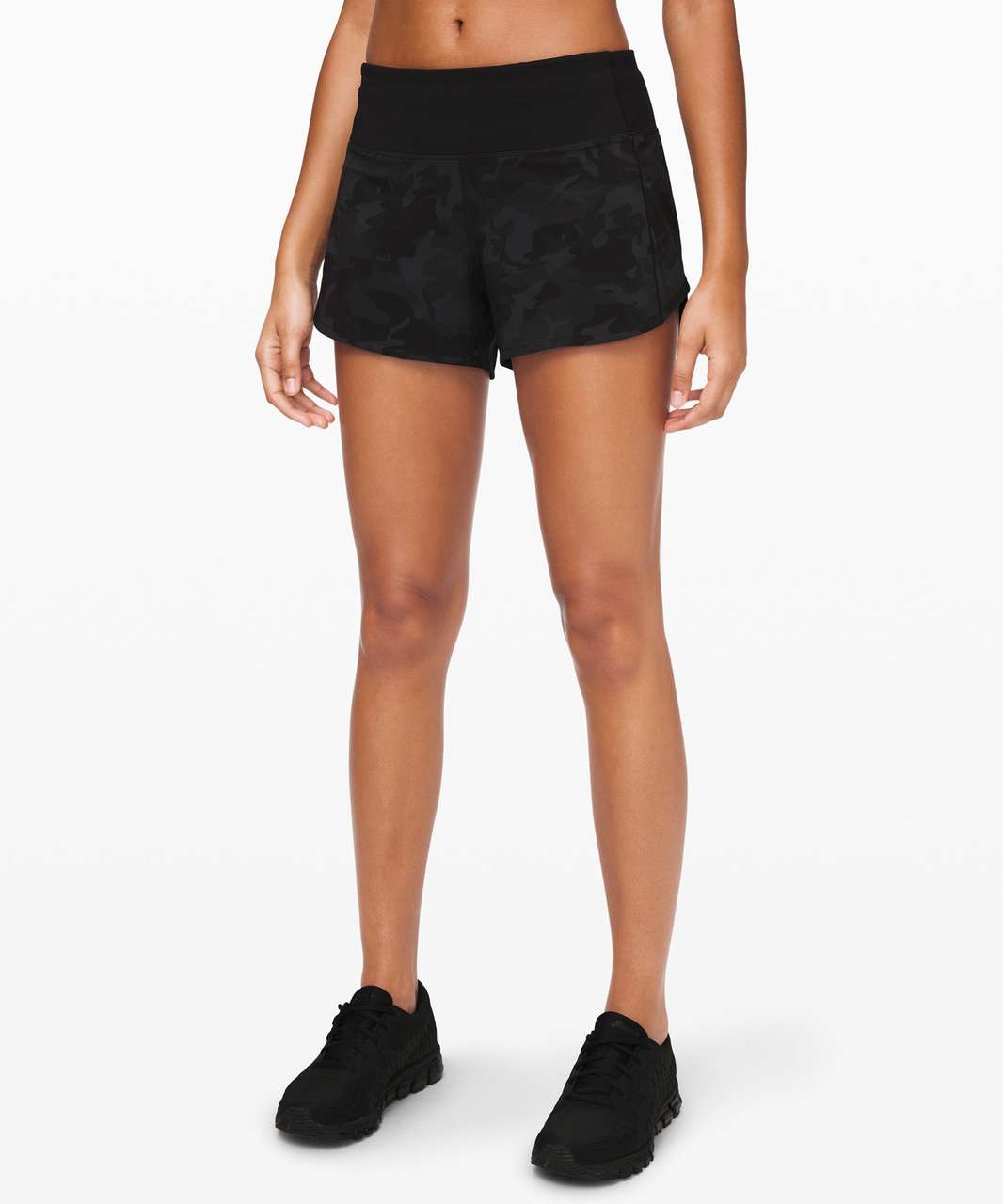 "Lululemon Speed Up Short Long *4"" Updated Fit - Incognito Camo Multi Grey / Black"