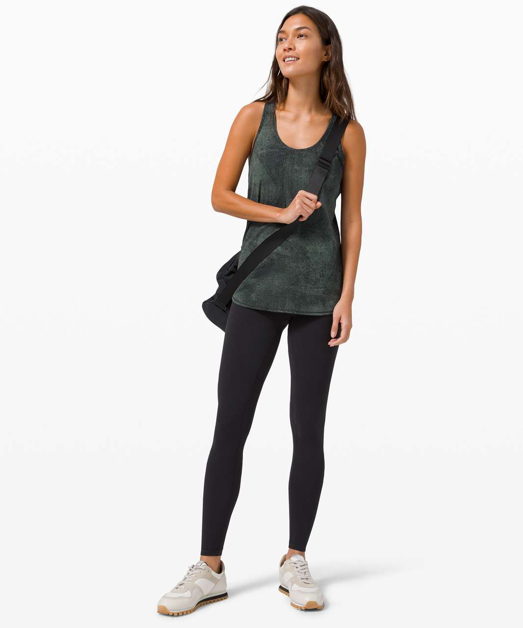 Lululemon Essential Tank *Pleated - Pixel Jacquard Algae Green Black