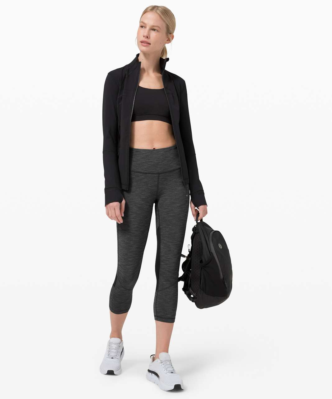 "Lululemon Pace Rival Mid-Rise Crop 22"" - Heathered Black / Black"