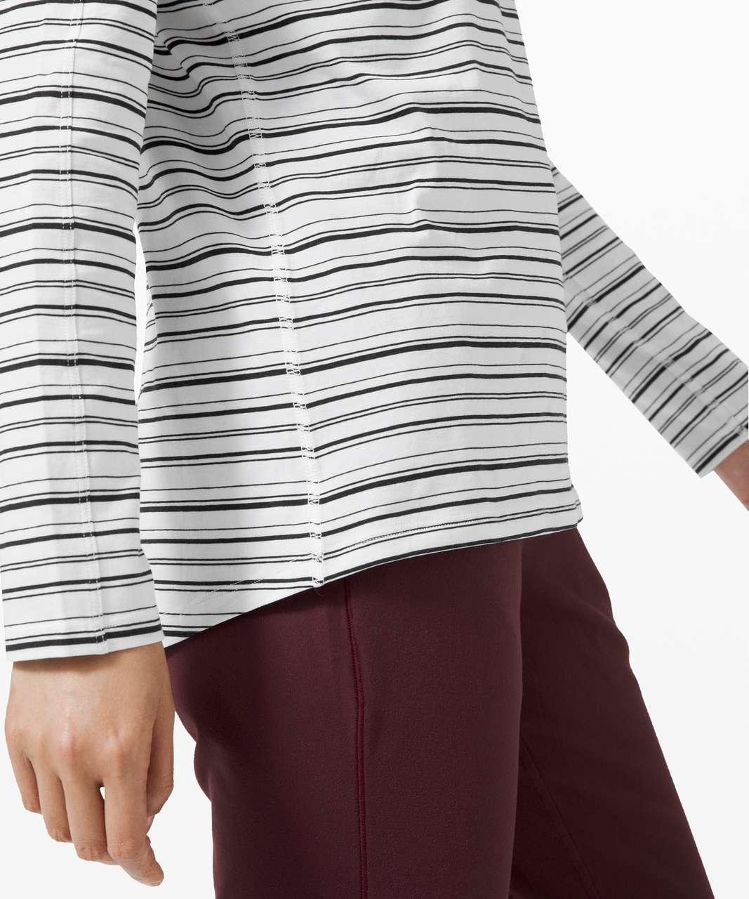 Lululemon Emerald Long Sleeve - Cut Back Stripe White Black