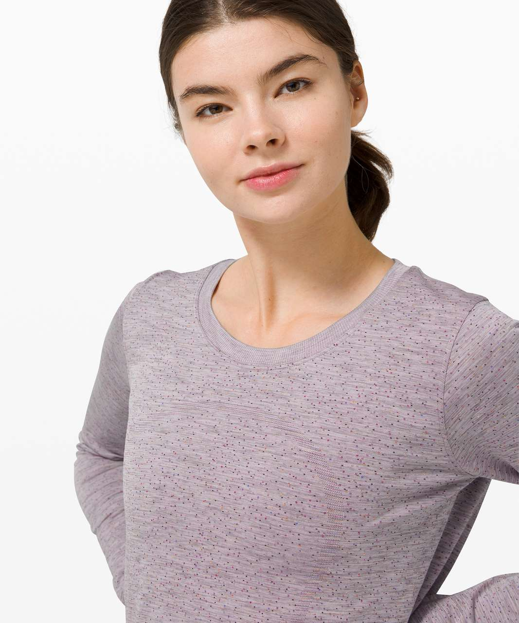 Lululemon Swiftly Relaxed Long Sleeve - Dapple Dot Slate / Fuchsia Multi
