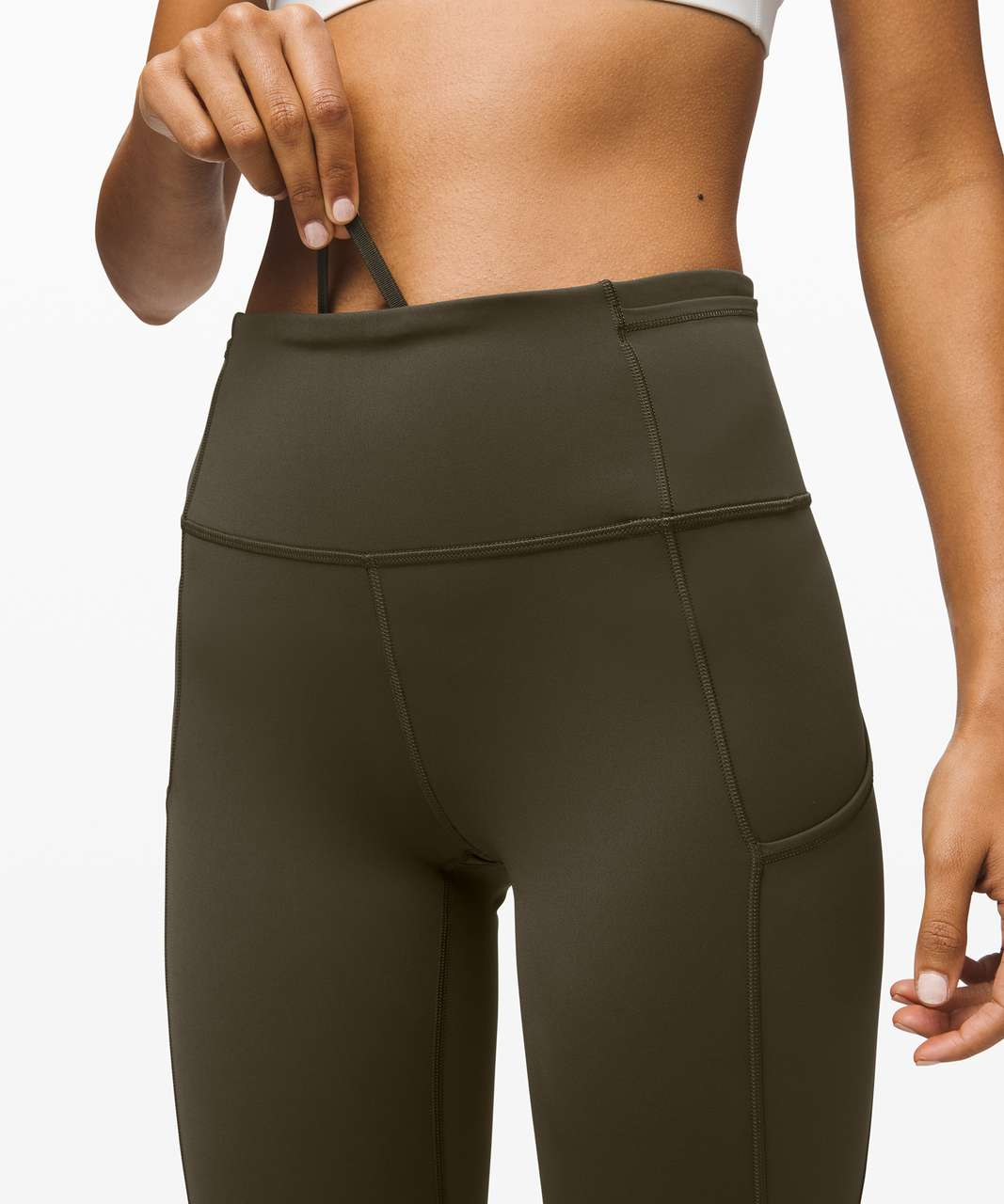 """Lululemon Fast and Free Crop II 19"""" *Non-Reflective - Dark Olive"""