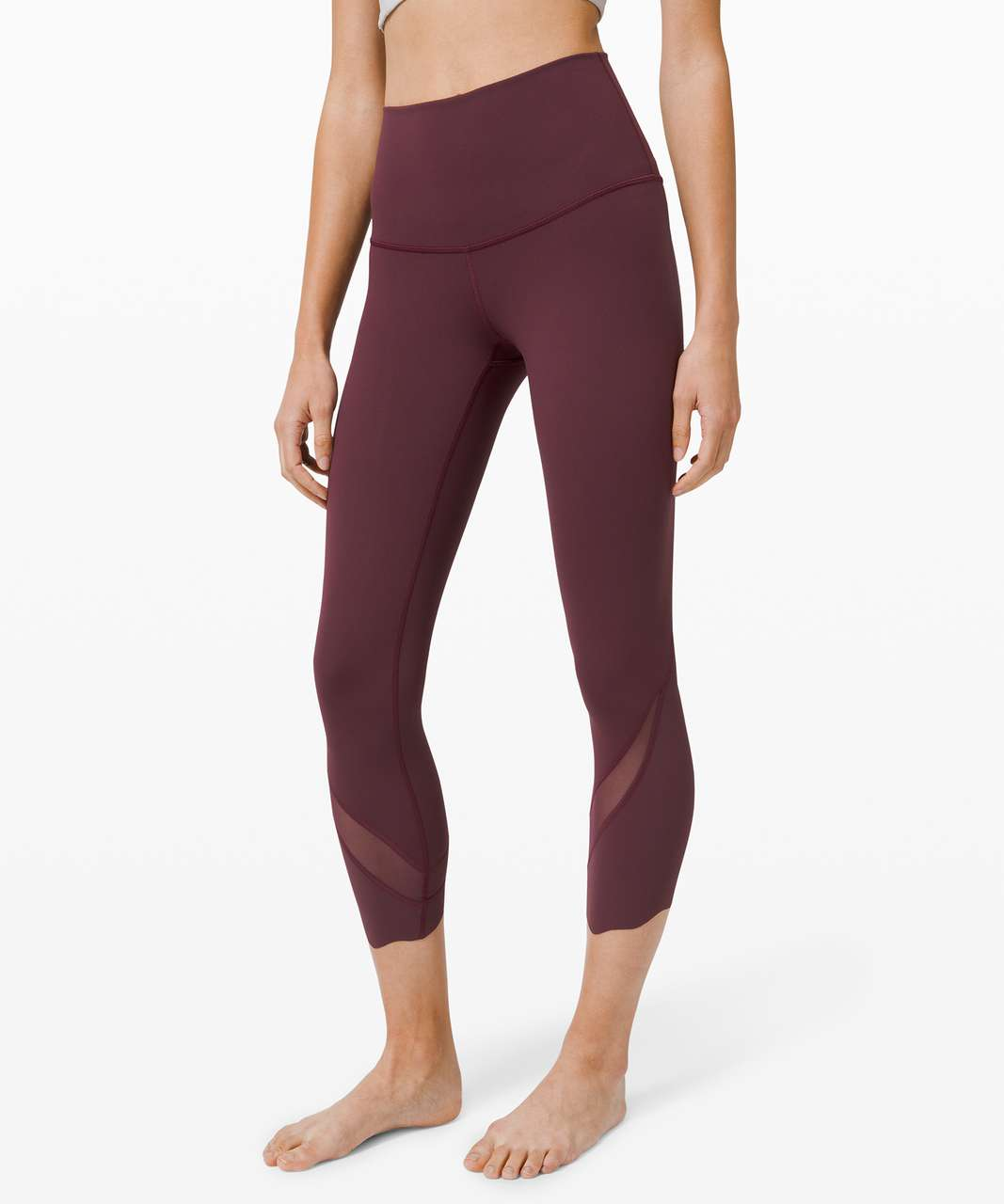 """Lululemon Wunder Under Crop High-Rise *Roll Down Scallop Full-On Luxtreme 23"""" - Cassis"""