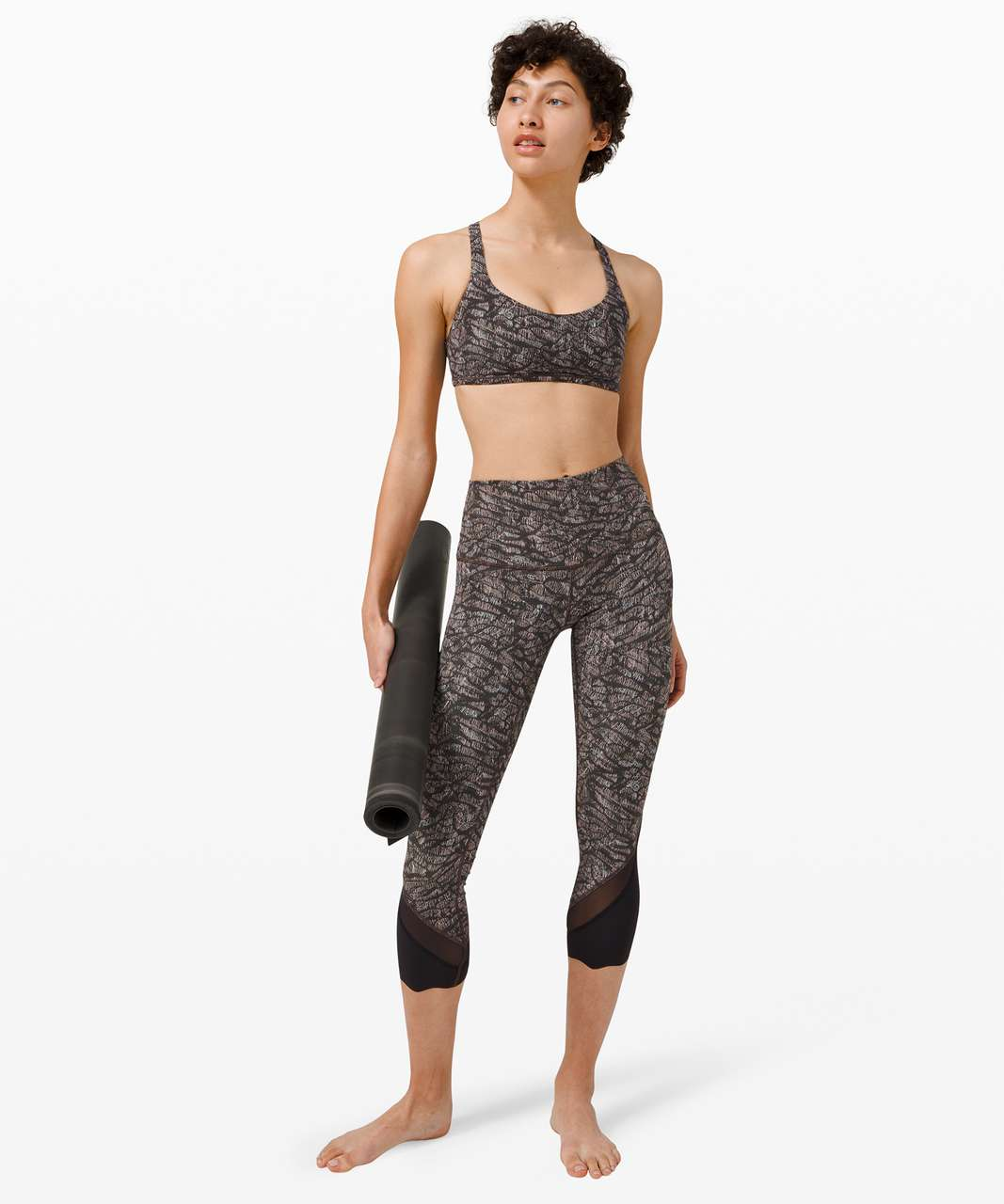 """Lululemon Wunder Under Crop High-Rise *Roll Down Scallop Full-On Luxtreme 23"""" - Origami Lace Multi / Black"""