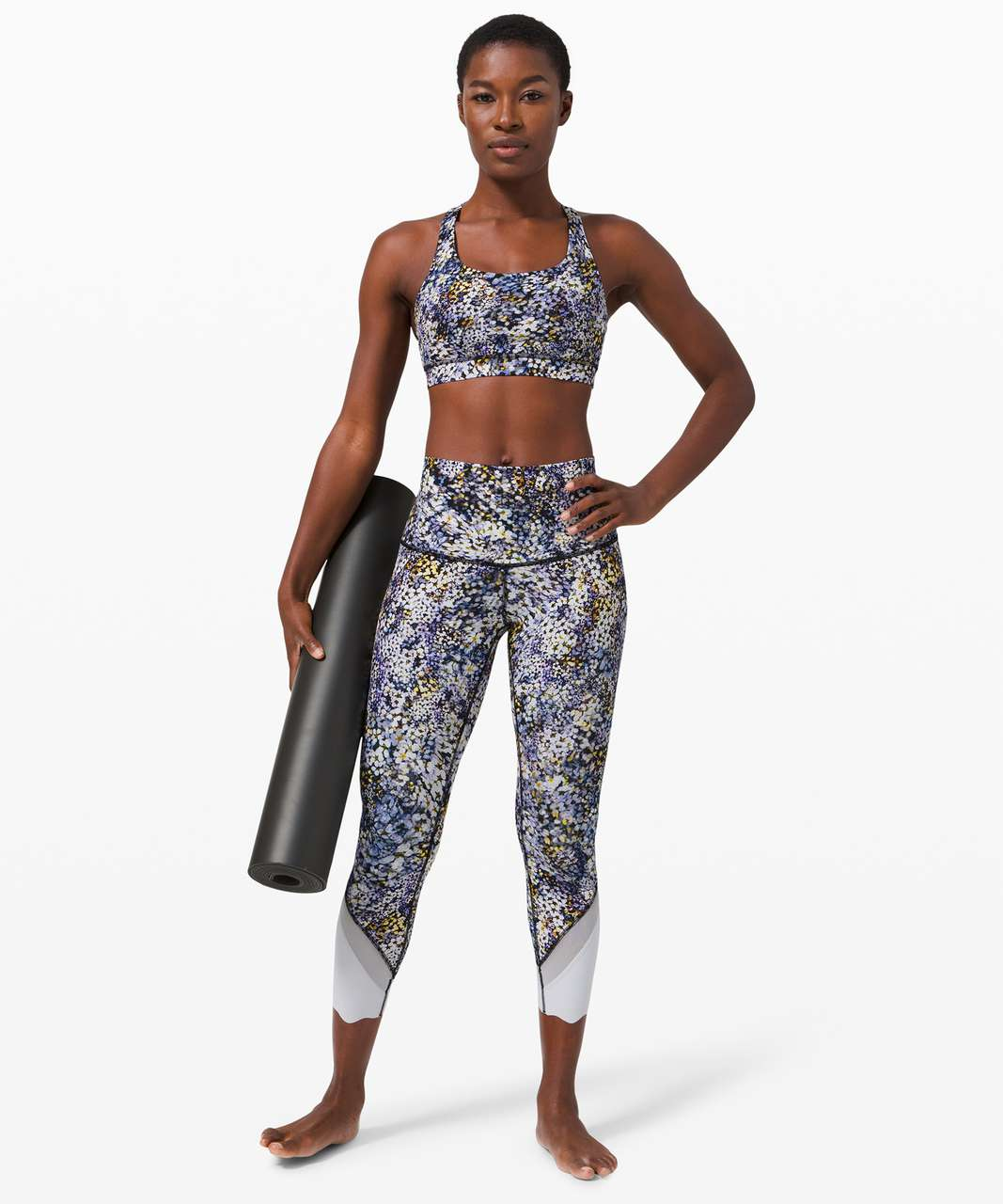 """Lululemon Wunder Under Crop High-Rise *Roll Down Scallop Full-On Luxtreme 23"""" - Floral Metropolis Multi / Starlight"""