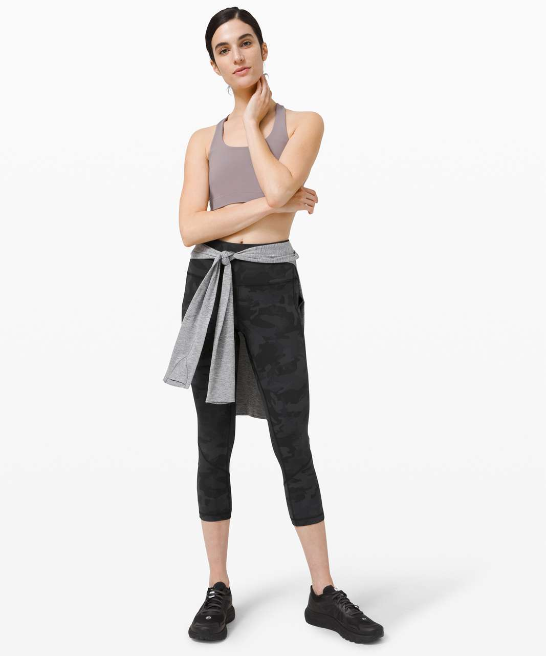 """Lululemon Pace Rival High-Rise Crop 22"""" - Incognito Camo Multi Grey / Black"""