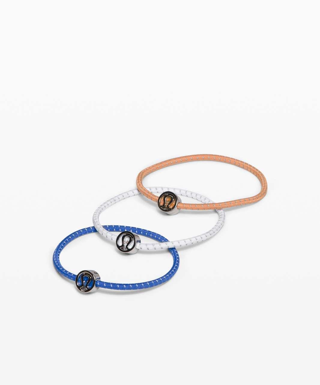 Lululemon Glow On Hair Ties - White / Wild Bluebell / Monarch Orange