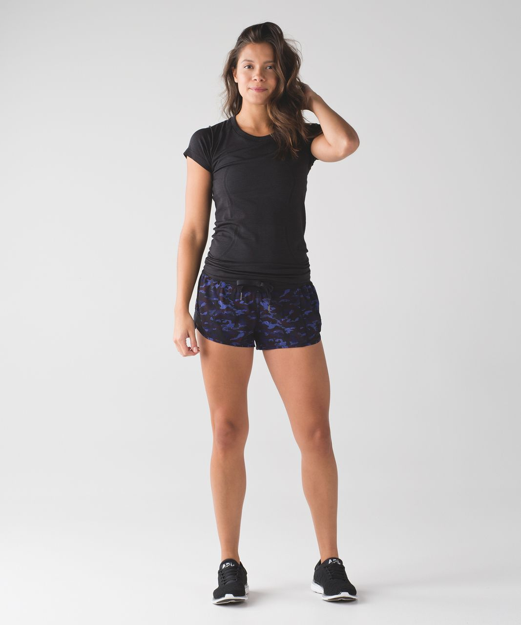 Lululemon Hotty Hot Short - Mini Hounds Camo Emperor Blue Black / Black