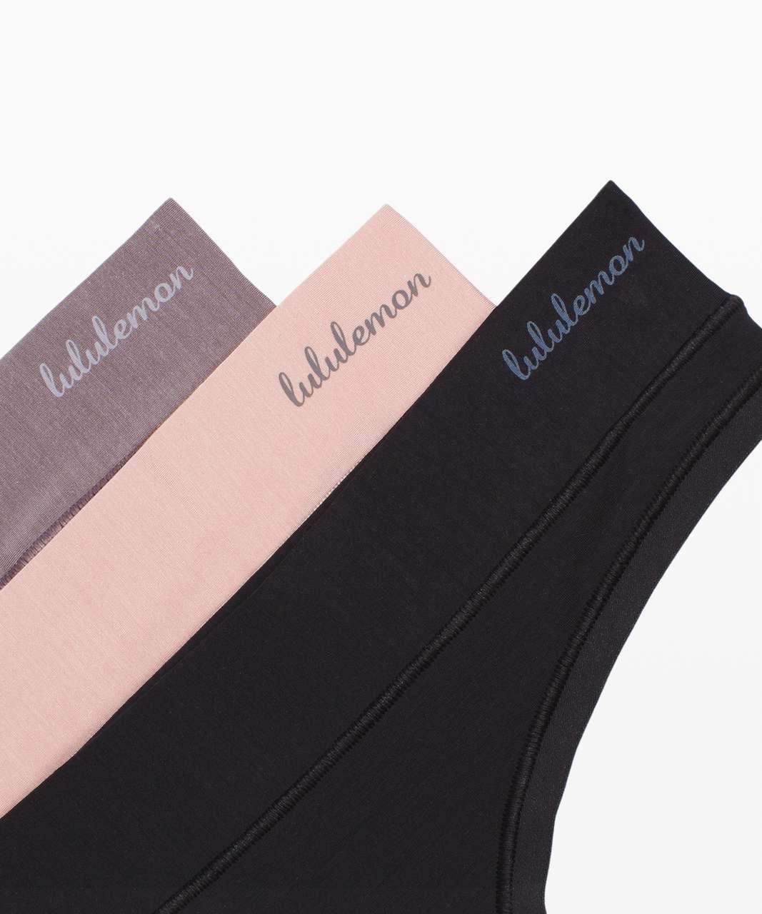 Lululemon Mula Bandhawear Thong *3 Pack - Black / Misty Shell / Lunar Rock
