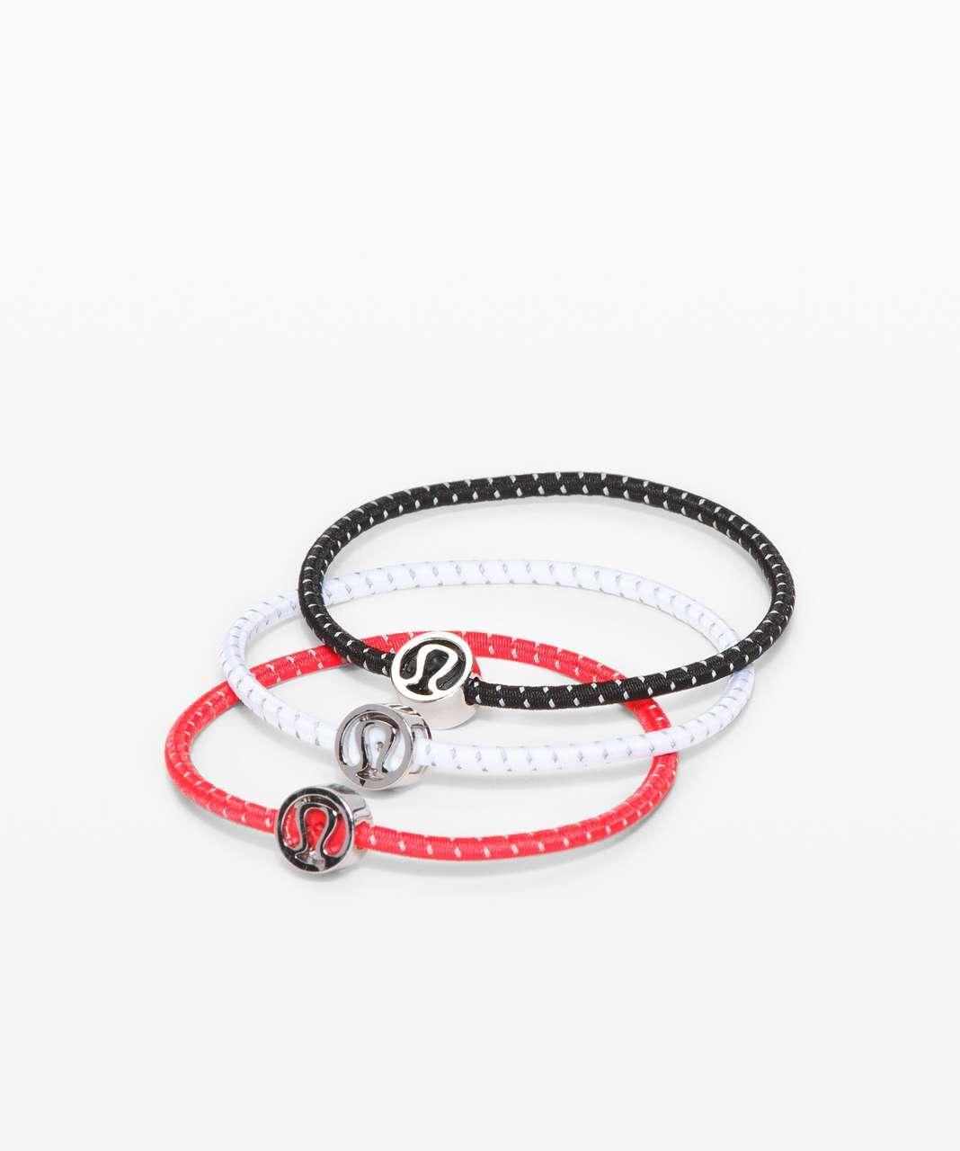 Lululemon Glow On Hair Ties - Black / Carnation Red / White