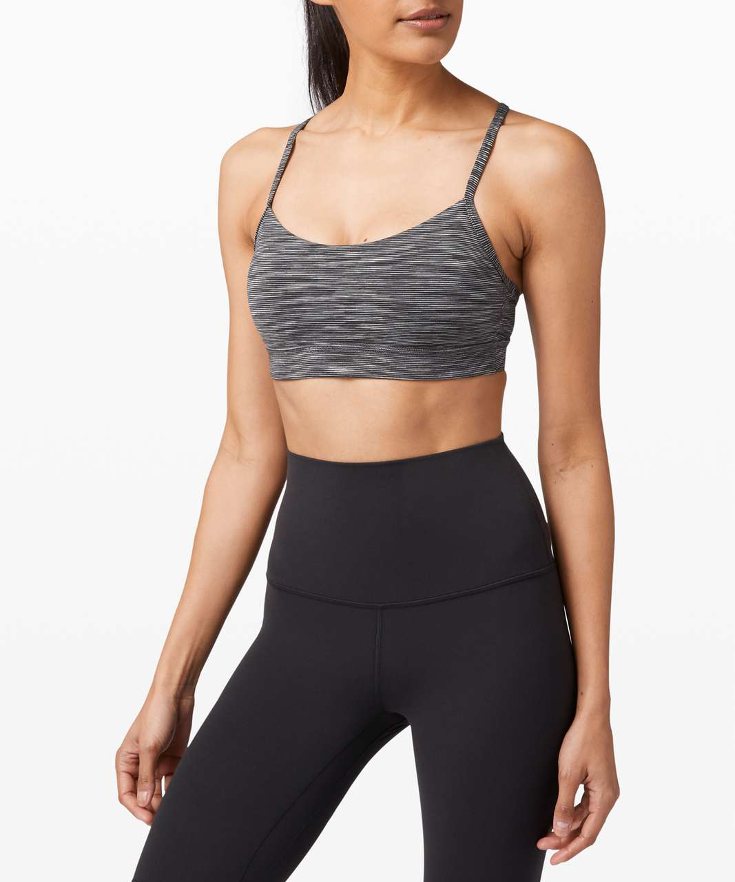 Lululemon Flow Y Bra Nulu *Light Support, B/C Cup - Wee Are From Space Dark Carbon Ice Grey