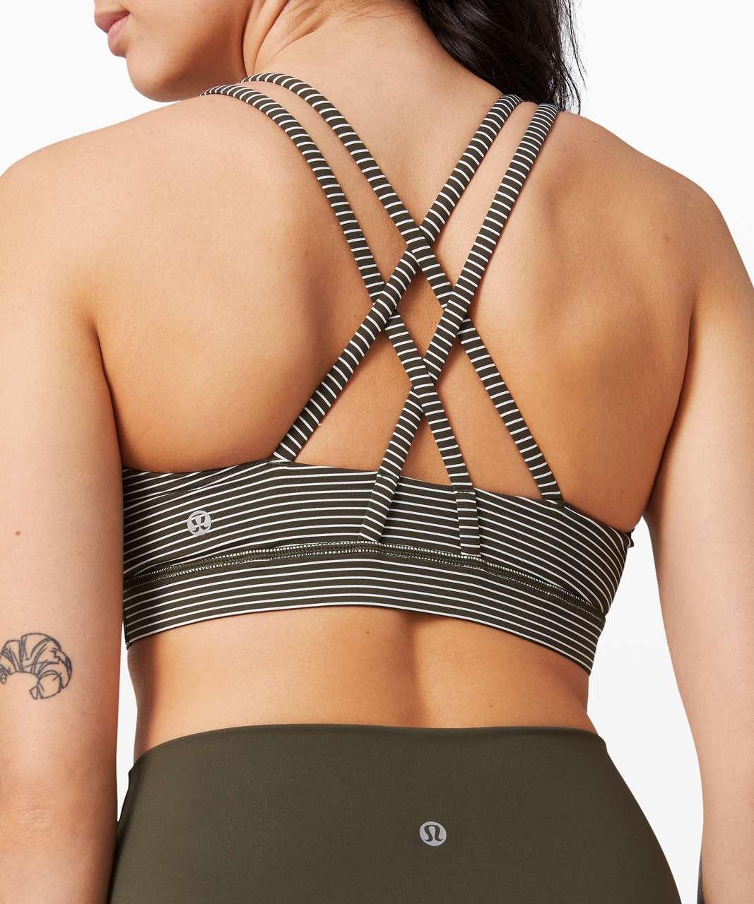 Lululemon Energy Bra *Medium Support, B-D Cup - Hype Stripe Dark Olive White