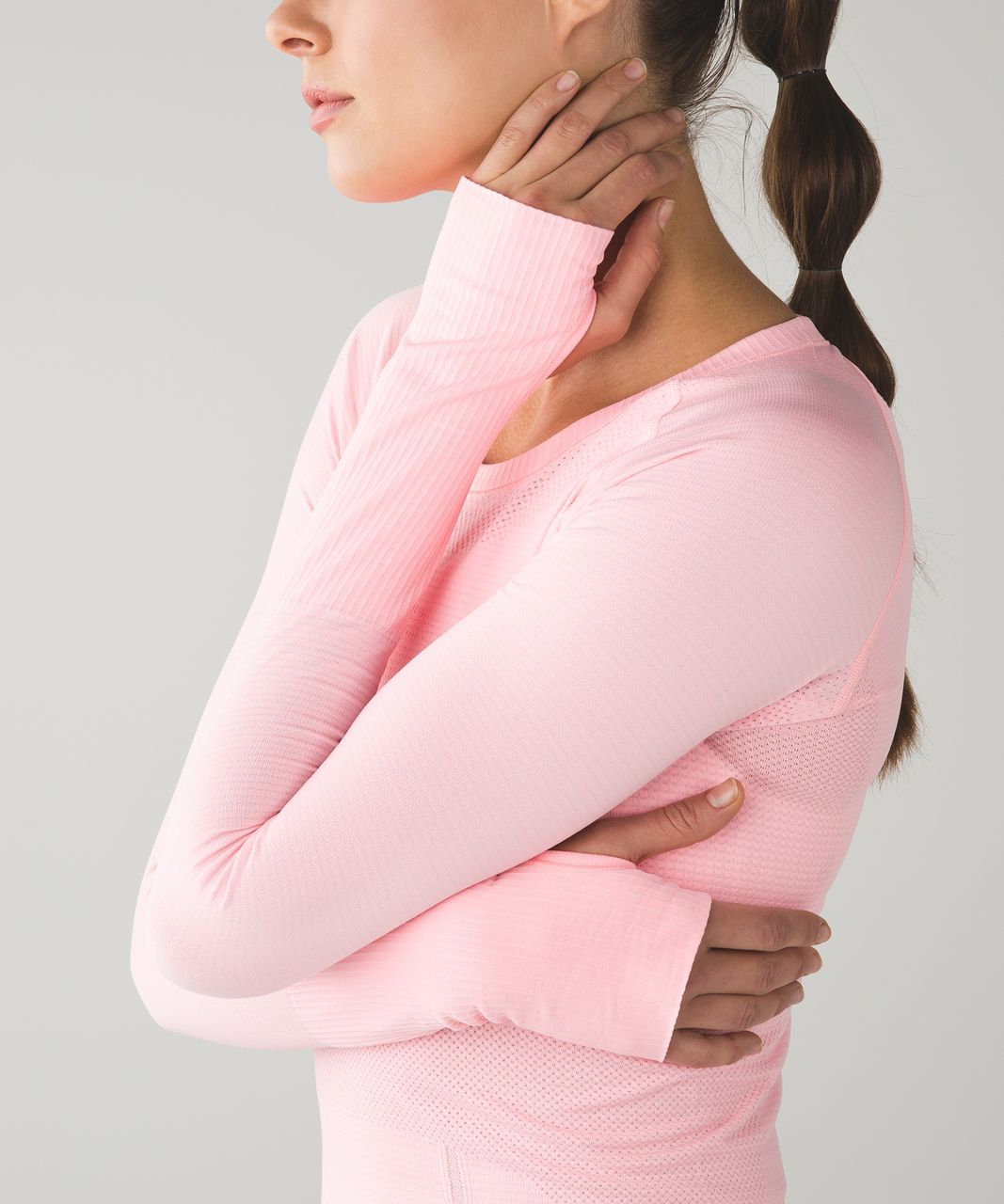 Lululemon Swiftly Tech Long Sleeve Crew - Heathered Bleached Coral