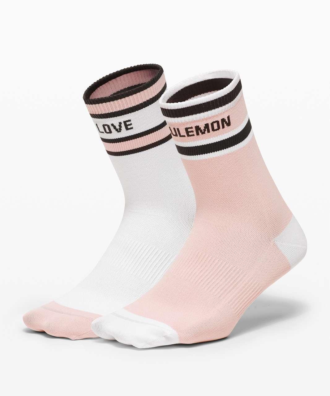 Lululemon Tale To Tell Quarter Sock*2 Pack - White / Misty Pink / Graphite Grey