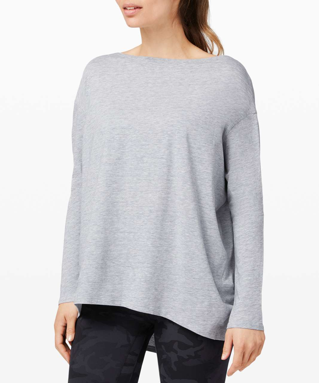 Lululemon Back In Action Long Sleeve - Heathered Magnet Grey