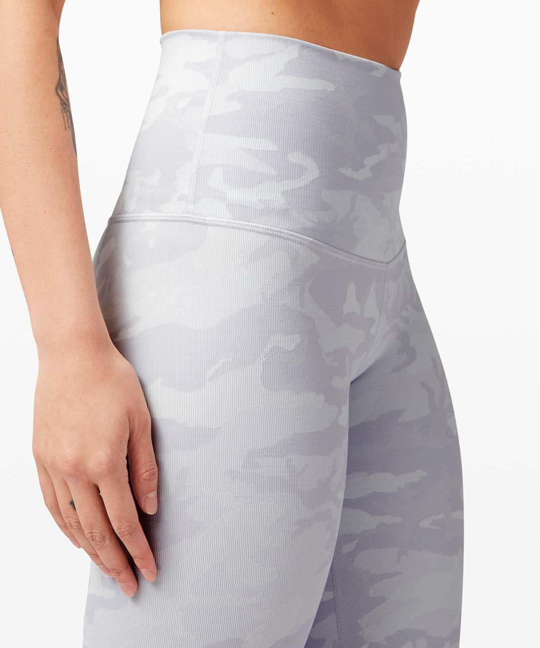 """Lululemon Wunder Under Crop High-Rise *Roll Down Scallop Full-On Luxtreme 23"""" - Incognito Camo Jacquard Alpine White Starlight"""