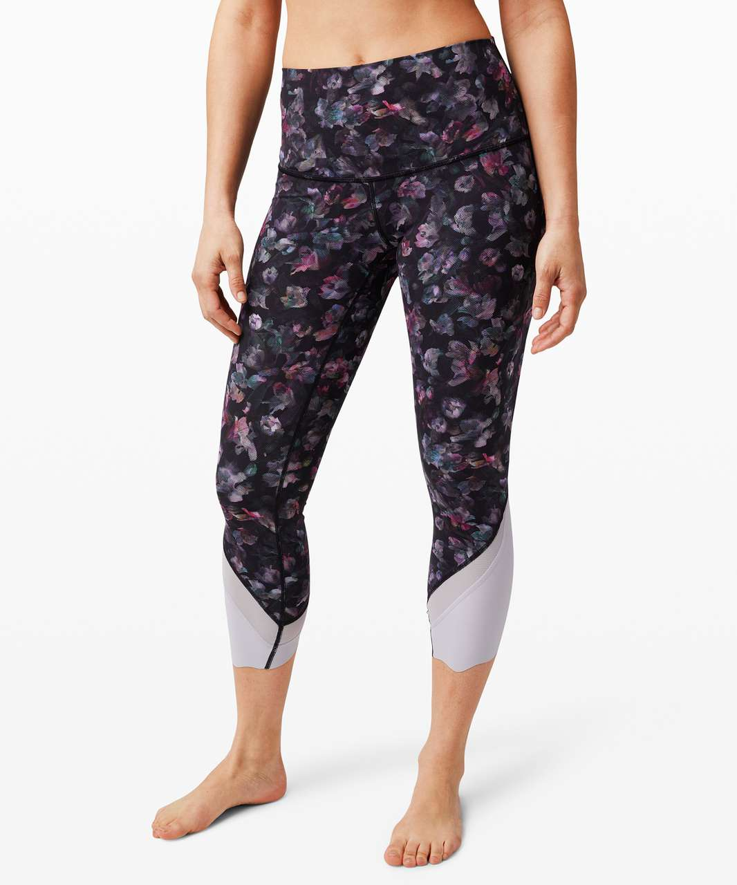 "Lululemon Wunder Under Crop High-Rise *Roll Down Scallop Full-On Luxtreme 23"" - Activate Floral Multi"
