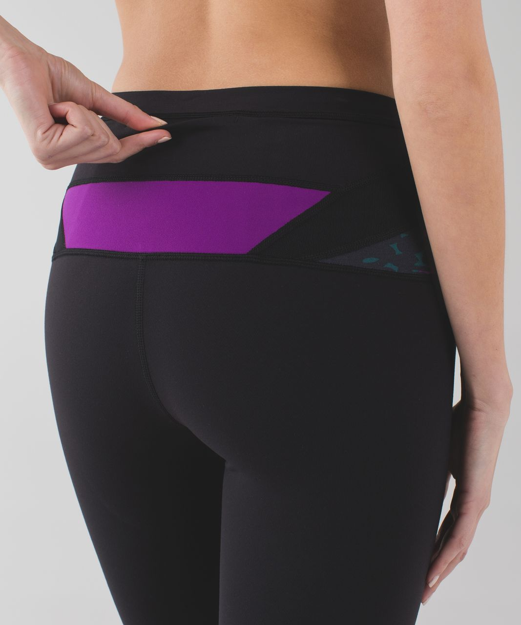 Lululemon Wunder Under Crop (Hi-Rise) - Black / Shadow Wrap Multi / Tender Violet