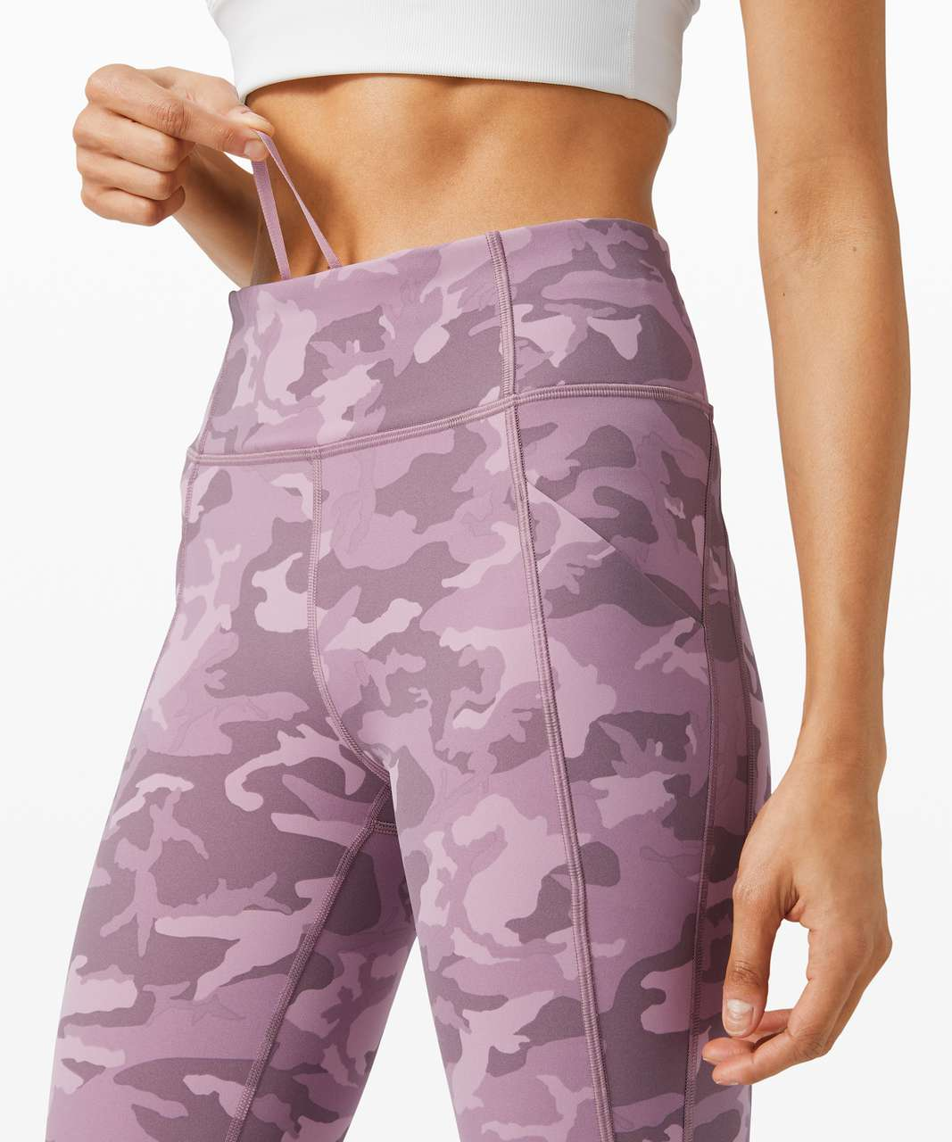 "Lululemon Time To Sweat Crop 23"" - Incognito Camo Pink Taupe Multi"