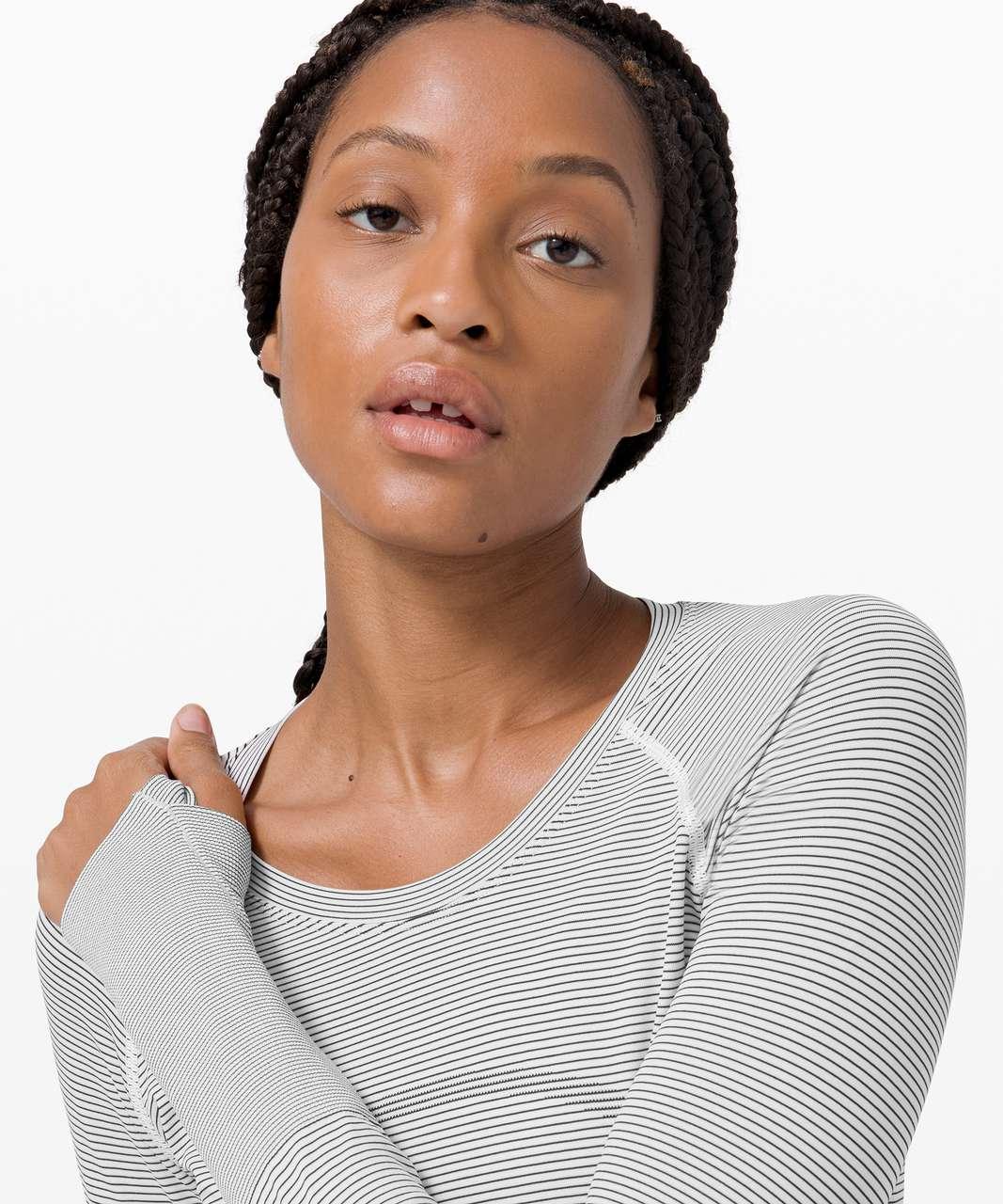 Lululemon Swiftly Tech Long Sleeve 2.0 - Tempo Stripe White / Black