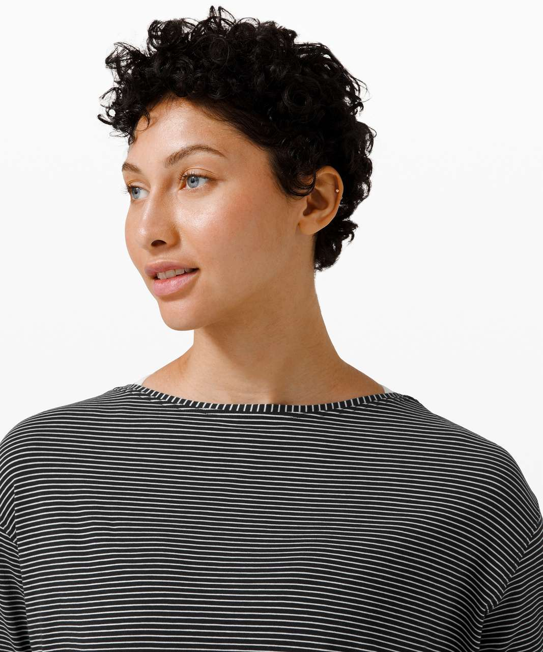 Lululemon Back In Action Long Sleeve - Hype Stripe Black White