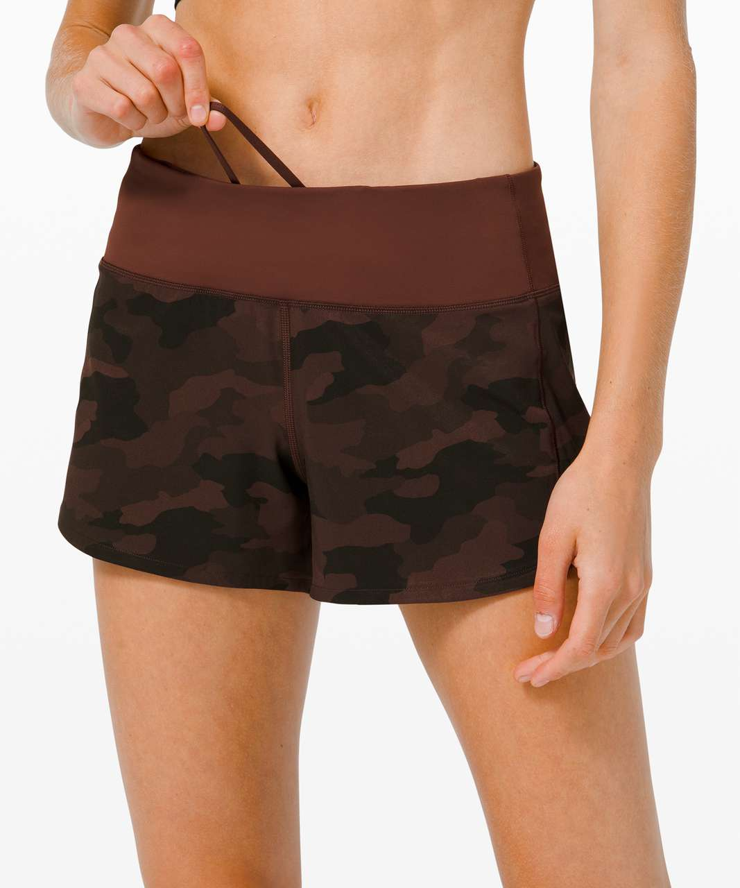 """Lululemon Speed Up Short Long *4"""" Updated Fit - Heritage 365 Camo Brown Earth Multi / Brown Earth"""