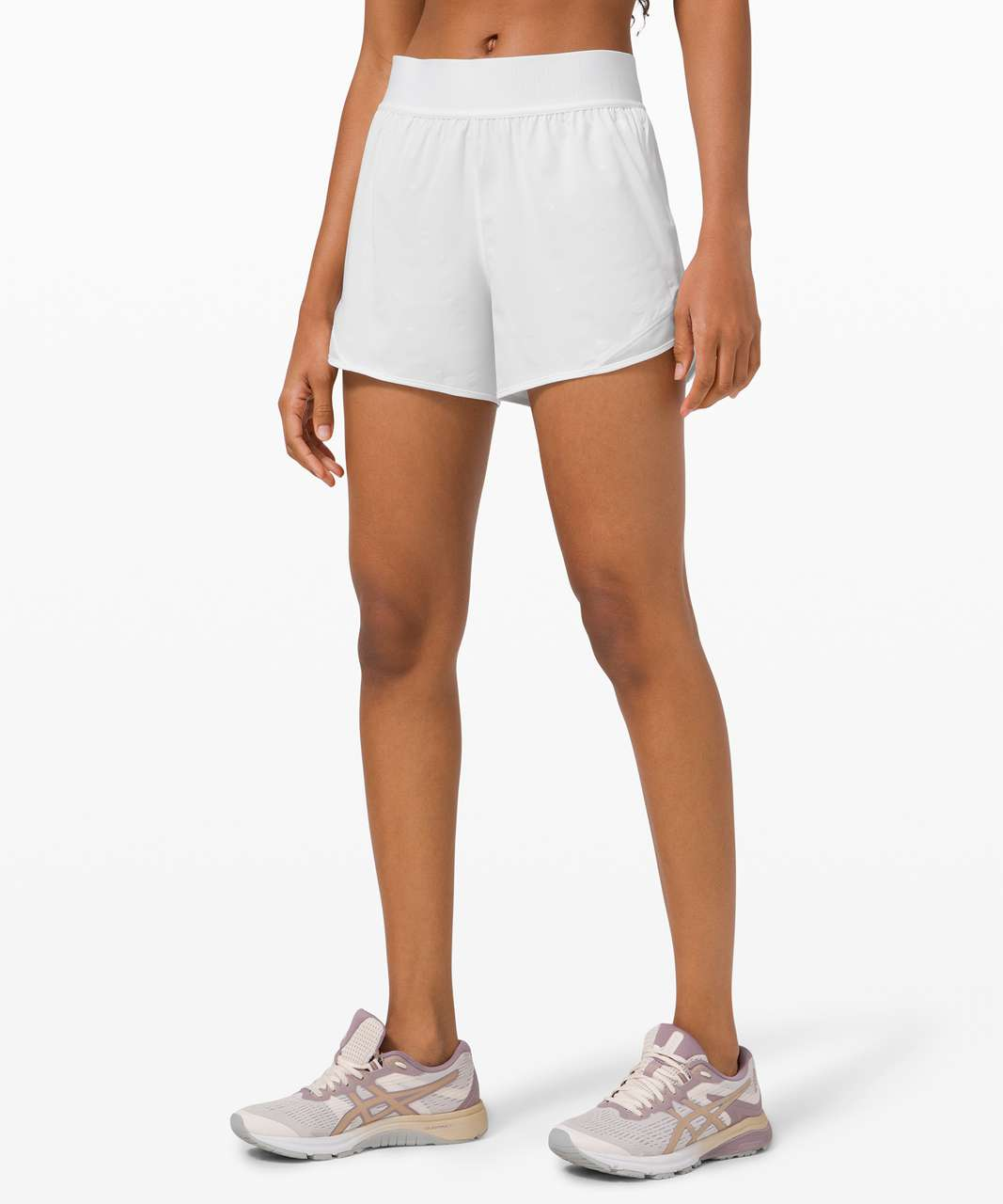 "Lululemon Hotty Hot Short 4"" *Logo - Poco Logo Foil White"