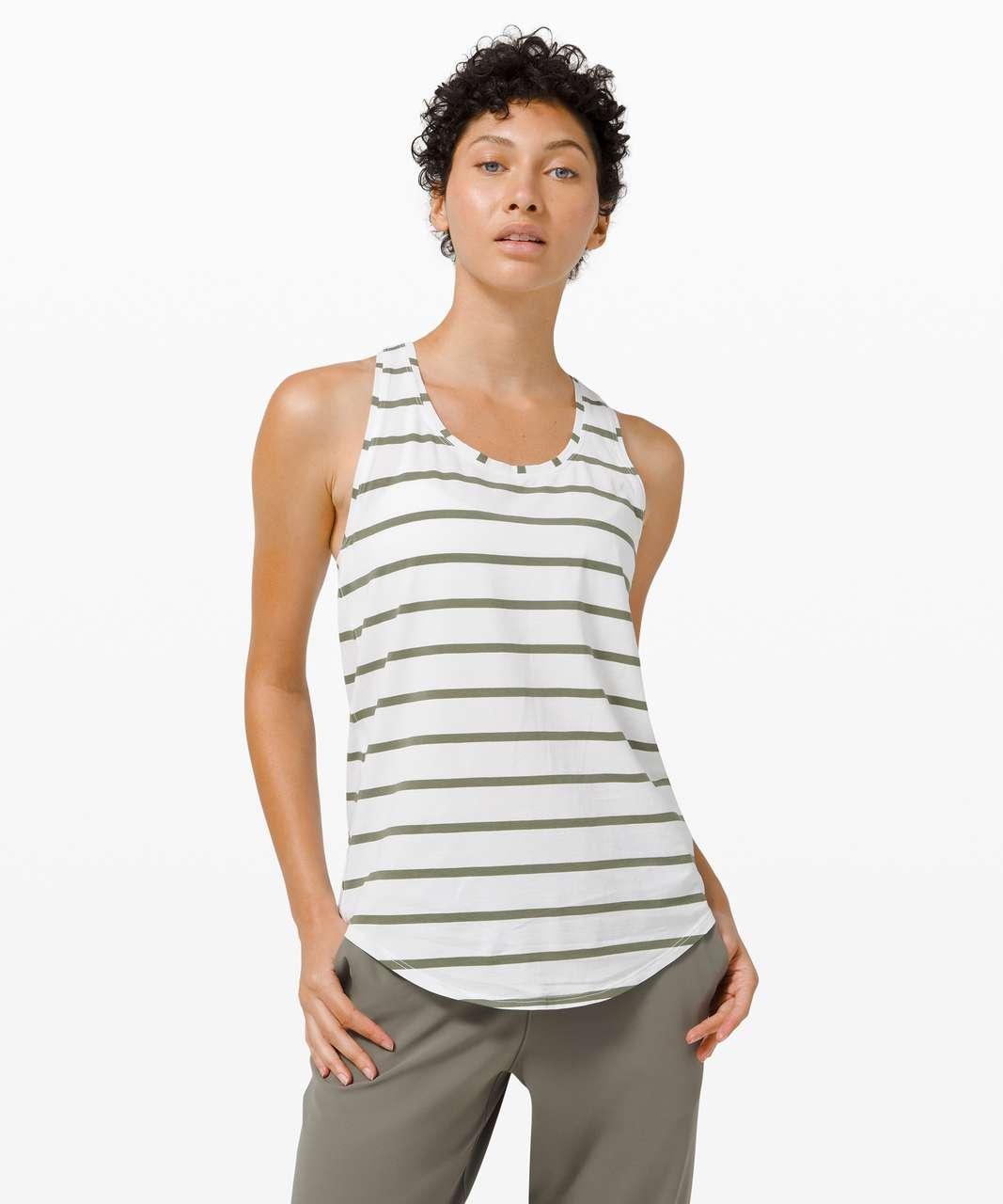 Lululemon Love Tank *Pleated - So Wicked Stripe White Medium Olive
