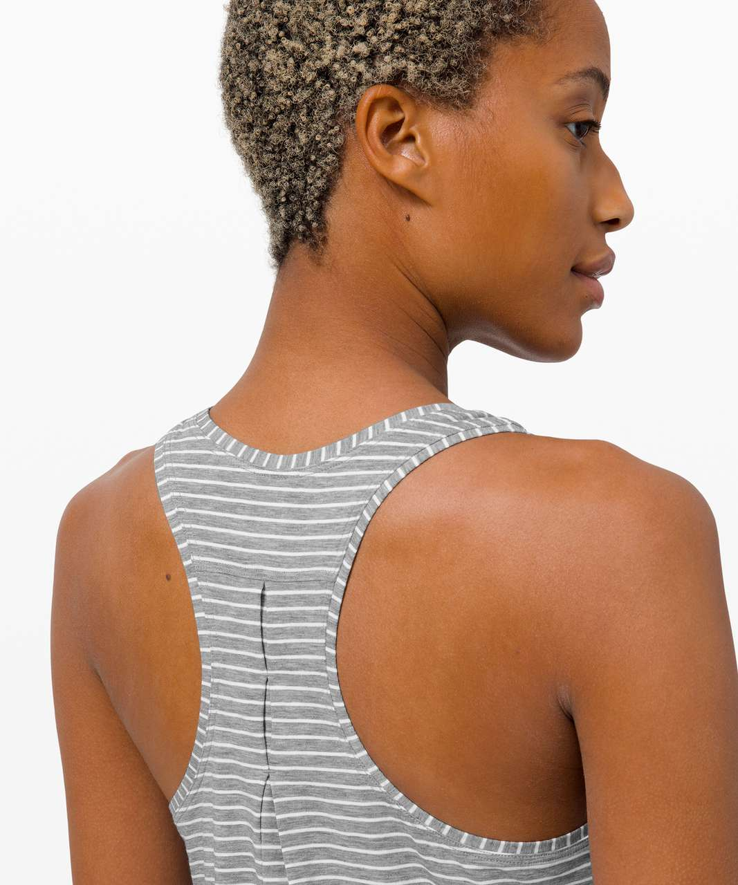 Lululemon Love Tank *Pleated - Modern Stripe White Heathered Medium Grey