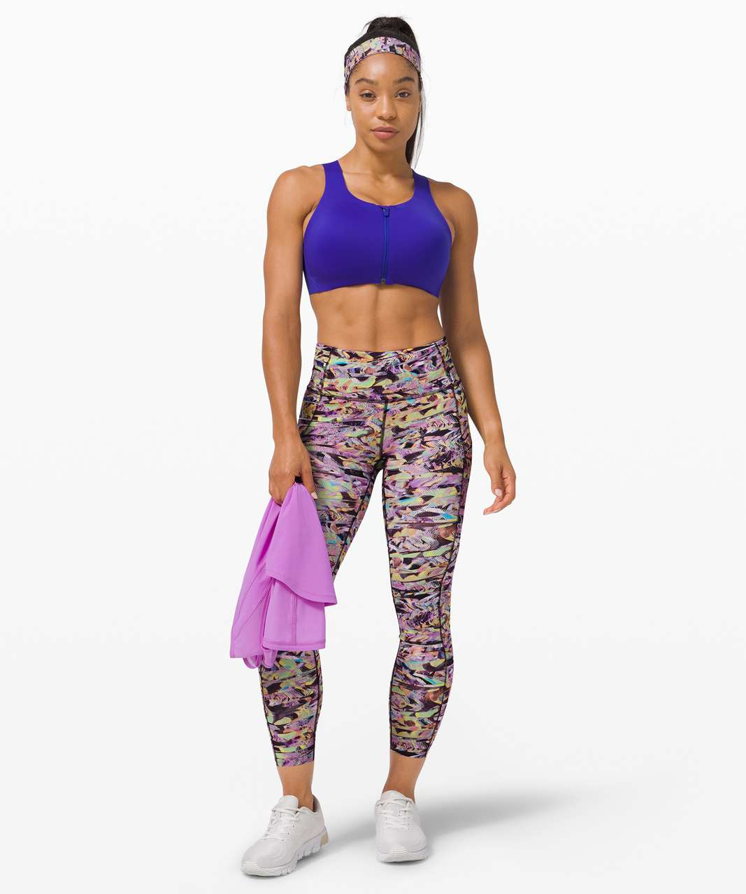 "Lululemon Fast and Free Tight II 25"" *SeaWheeze - Super Sonic Alpine White Purple Multi"