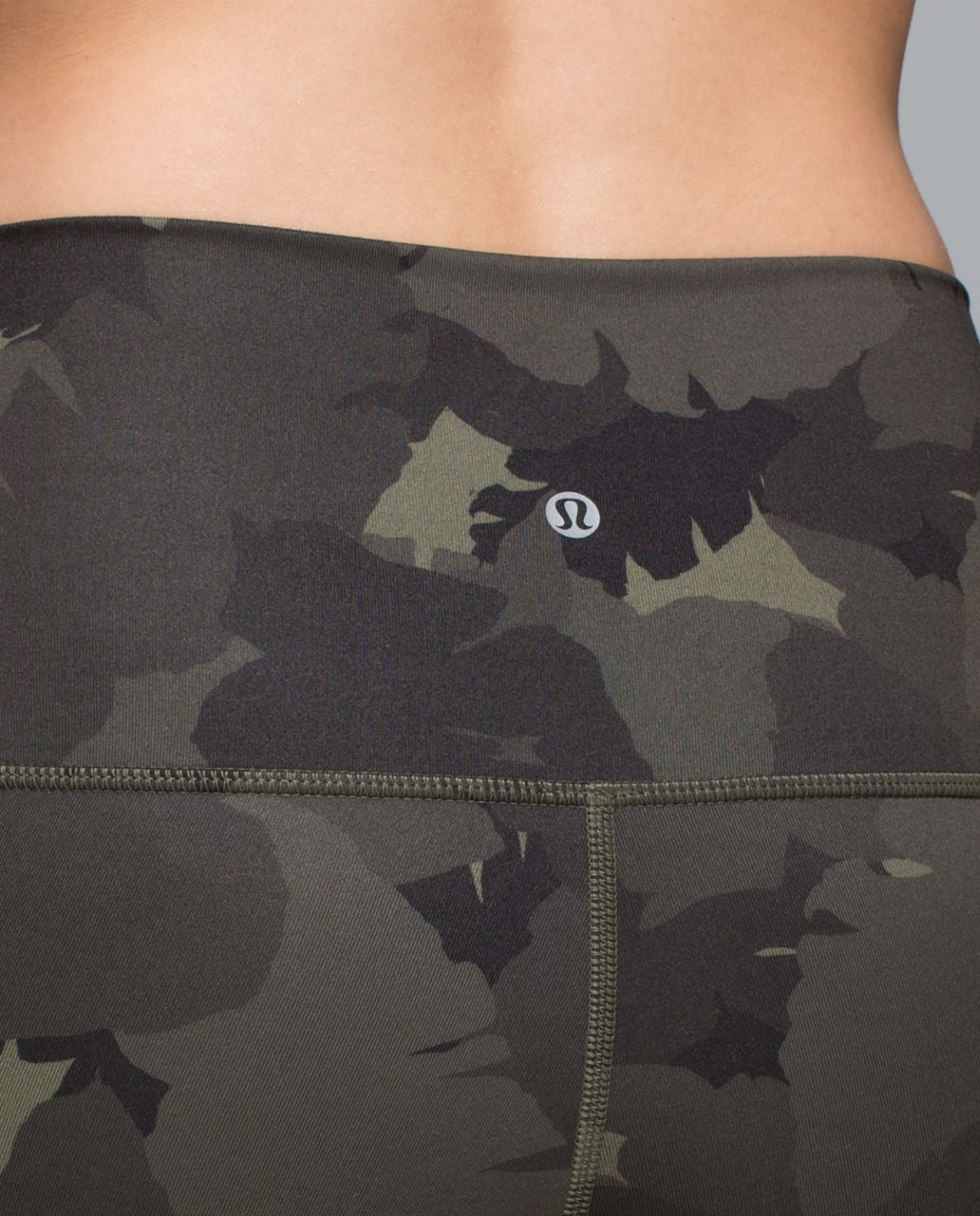Lululemon Wunder Under Crop II (Roll Down) - Palm Party Fatigue Green Black