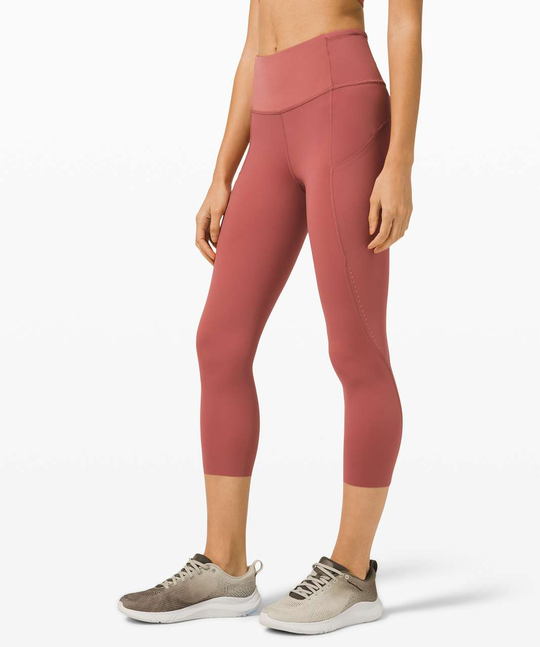 """Lululemon Fast and Free High Rise Crop 21"""" Elite - Cherry Tint"""