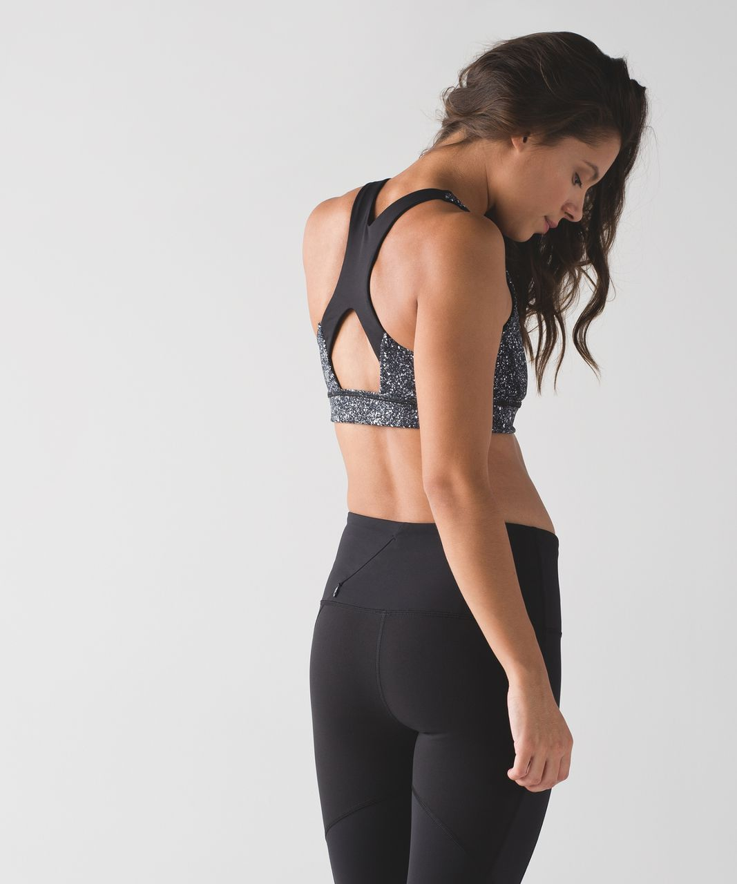 f8517798ee1 Lululemon Run Stuff Your Bra (Long Line) - Mini Splatter White Black   Black  - lulu fanatics