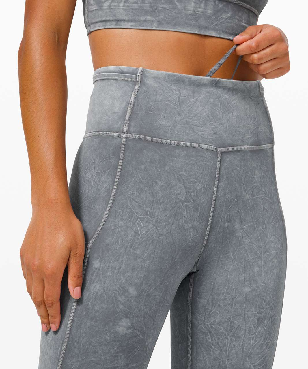 "Lululemon Fast and Free High Rise Tight 25"" *Ice Dye - Ice Wash Asphalt Grey"