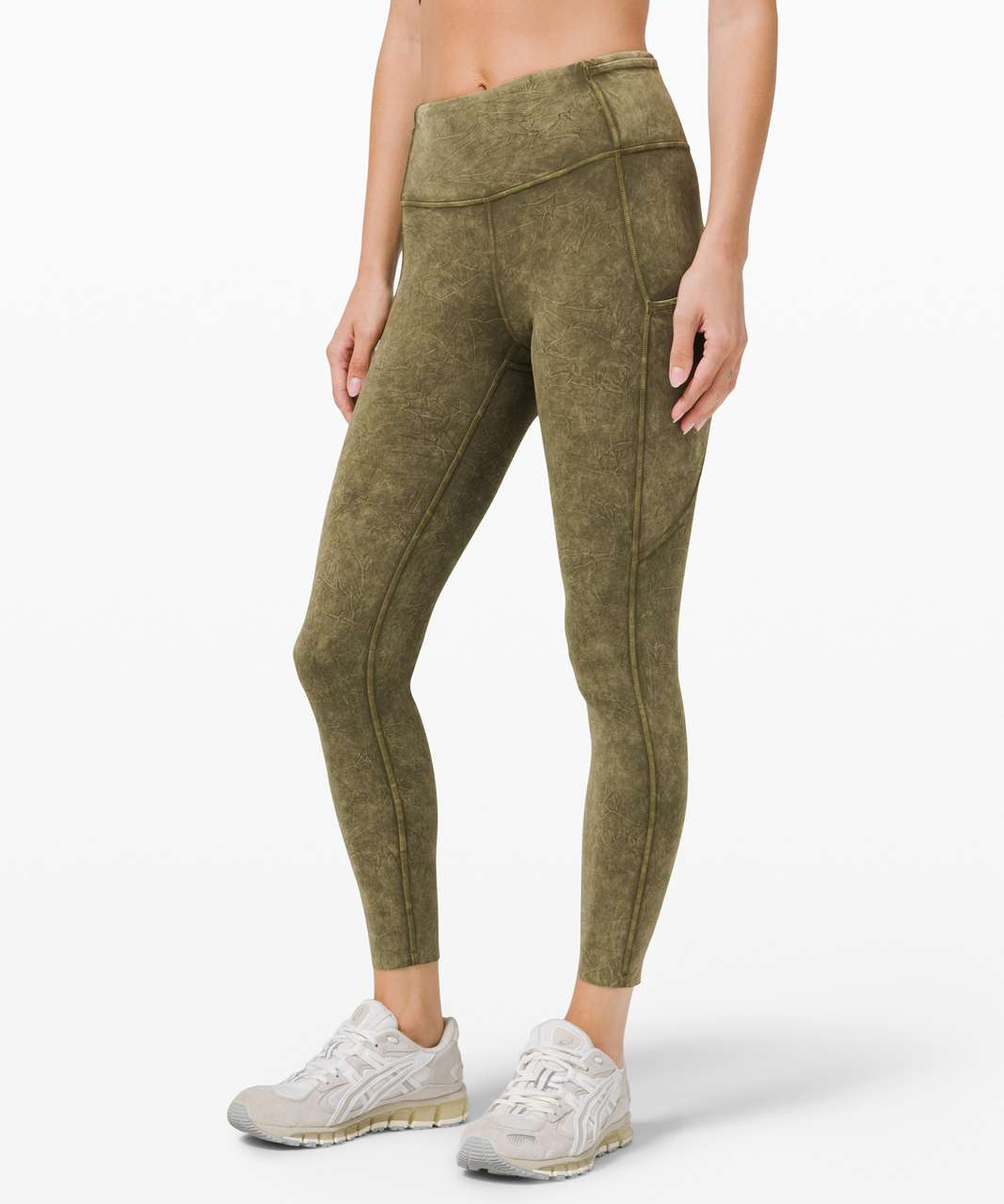 """Lululemon Fast and Free High Rise Tight 25"""" *Ice Dye - Ice Wash Moss Green"""